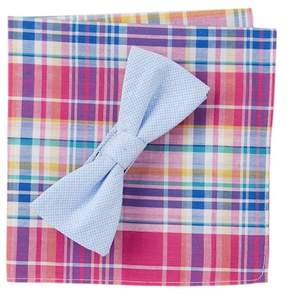 Original Penguin Gucelli Check Pre-Tied Bow Tie & Pocket Square Set