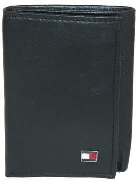 Tommy Hilfiger Men's Leather Oxford Slim Trifold Wallet, Black
