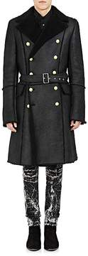 Balmain Men's Shearling Belted Military Coat