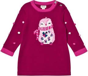Hatley Purple Penguin Knit Dress with Pom Pom Sleeves