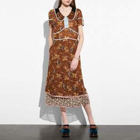 COACH COACH PRAIRIE DOG ROSE DOUBLE COLLAR DRESS - TEAK MULTI