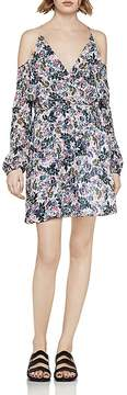 BCBGeneration Flounced Floral Cold-Shoulder Dress