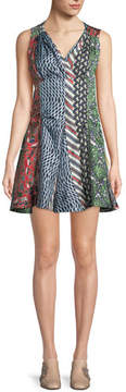 Carven Mixed-Print Silk Flared Dress