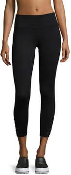 Betsey Johnson Women's Criss-Cross Mesh Crop Leggings