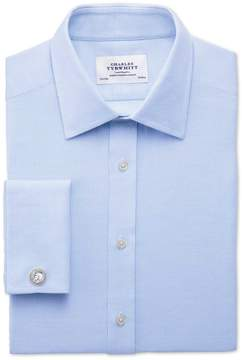 Charles Tyrwhitt Extra Slim Fit Egyptian Cotton Diamond Texture Sky Blue Dress Shirt French Cuff Size 15/34