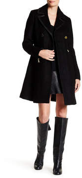 GUESS Fit & Flare Faux Leather Trim Boucle Coat