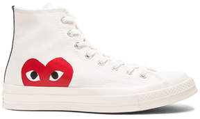 Comme des Garcons Converse Large Emblem High Top Canvas Sneakers in White.