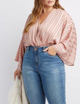 Charlotte Russe Plus Size Shadow Stripe Velvet Bodysuit