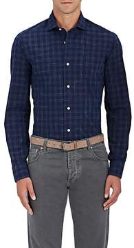 Barba Men's Plaid Cotton Poplin Shirt