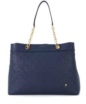 Tory Burch Flaming Center-zip Blue Leather Shoulder Bag - BLU - STYLE