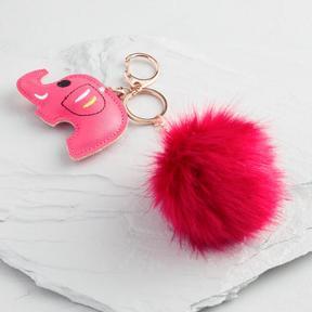 World Market Red Elephant and Pom Keychain