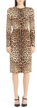 Women's Dolce&gabbana Leopard Print Stretch Silk Sheath Dress