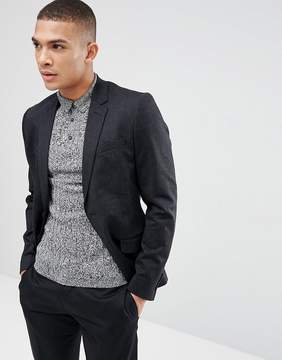 New Look Slim Fit Fleck Blazer In Navy