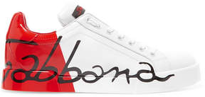 Dolce & Gabbana Painted Matte And Patent-leather Sneakers - White