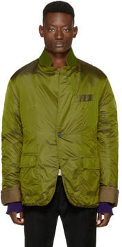 Haider Ackermann Green Nylon Insulted Mac Jacket