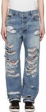 Balmain Blue Baggy Destroy Jeans