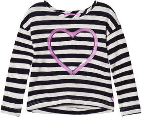 Joules Navy Stripe Embellished Heart Long Sleeve Jersey Tee