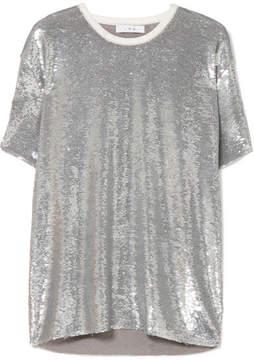 IRO Natesa Oversized Sequined Jersey T-shirt - Silver