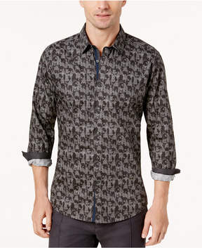 Ryan Seacrest Distinction Men's Black and Gray Graphic Print Woven Shirt, Created for Macy's