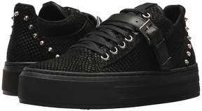 The Kooples Reptile-Effect Leather Platform Trainers Women's Shoes