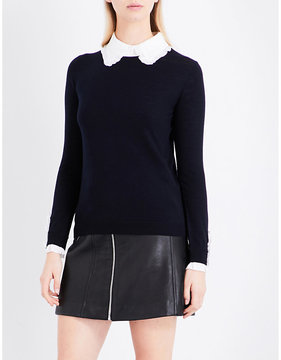 Claudie Pierlot Madame detachable ruffled-collar wool jumper