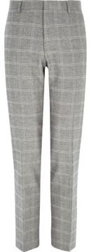 River Island Mens Grey check linen-blend slim suit pants