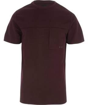River Island Mens Burgundy slim fit pocket T-shirt