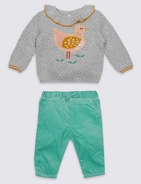 Marks and Spencer 2 Piece Bird Jumper & Cord Bottom Outfit