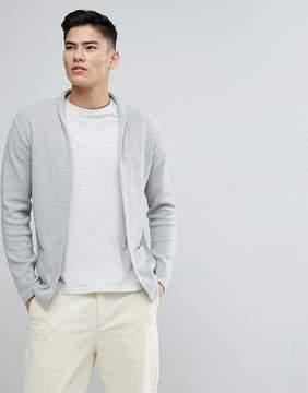 MANGO Man Flecked Cotton Blend Cardigan In Gray