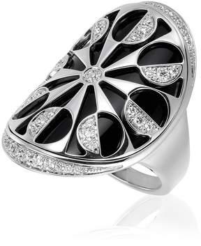 Bvlgari Intarsio 18K White Gold Ring- Size 7.25