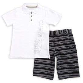 Calvin Klein Jeans Little Boy's Two-Piece Printed Polo and Striped Shorts Set