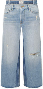 Frame Le Reconstructed Distressed Mid-rise Straight-leg Jeans - Light denim