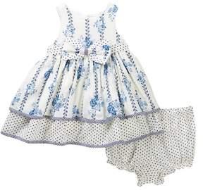 Laura Ashley Clip Dot Print Dress (Baby Girls 0-9M)