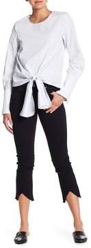 J.o.a. Frayed V-Hem Cropped Skinny Jeans
