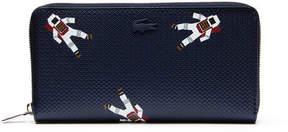 Lacoste Women's Chantaco Zippered Astronaut Print Leather Wallet