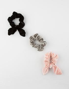 FULL TILT 3 Pack Velvet Bunny Scrunchies