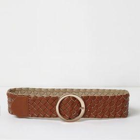 River Island Womens Tan brown braided mid waist ring belt