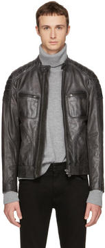 Belstaff Grey Leather Weybridge Jacket