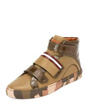 Bally Herrick Camouflage Leather High-Top Sneaker