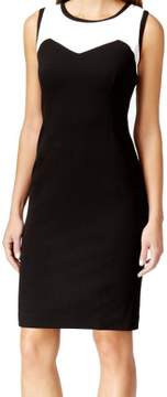Nine West Women's Color-blocked Sheath Dress (16, Black/Ivory)