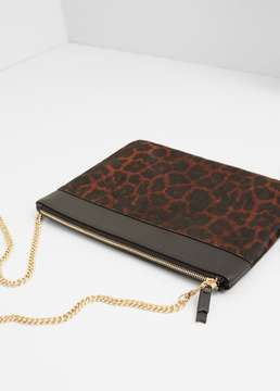 MANGO OUTLET Leopard leather cross body bag