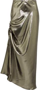 Ellery Laura Asymmetric Ruched Silk-blend Lamé Skirt - Platinum