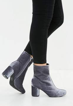 Missguided Gray Velvet Round Toe Ankle Boot
