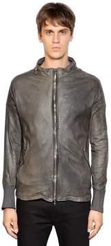 Giorgio Brato Zip-Up Washed Leather Moto Jacket