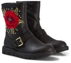 Lelli Kelly Kids Black Leather Matilde Rose Ankle Boots