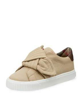 Burberry Westford Canvas Sneaker w/ Knot Detail, Youth