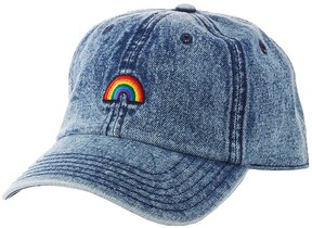 Charlotte Russe Rainbow Patch Denim Baseball Hat