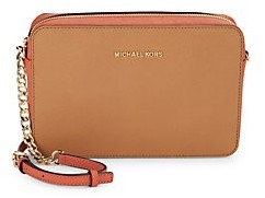Michael Kors Embossed Leather Crossbody Bag - ACORN ORANGE - STYLE