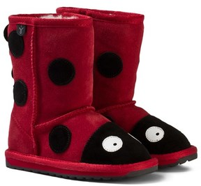 Emu Red Suede Ladybird Boots with Merino Lining