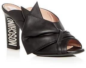 Moschino Women's Leather Bow High Block Heel Slide Sandals